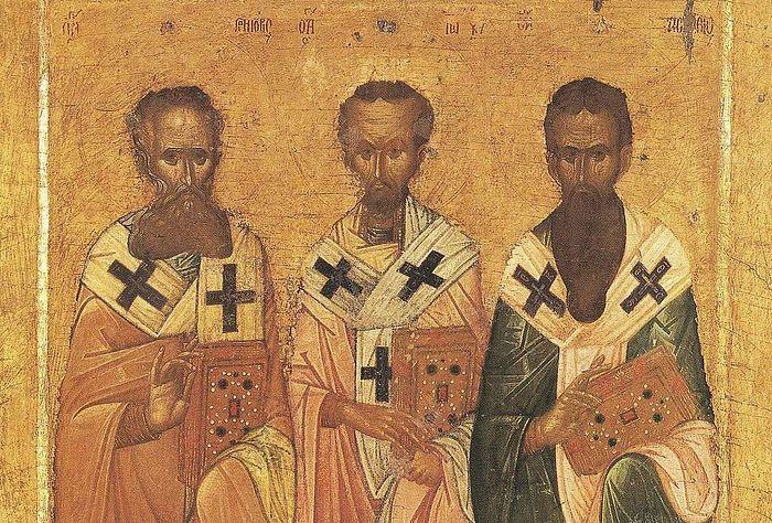 Вселенские учители и святители Григорий Богослов, Иоанн Златоуст и Василий Великий