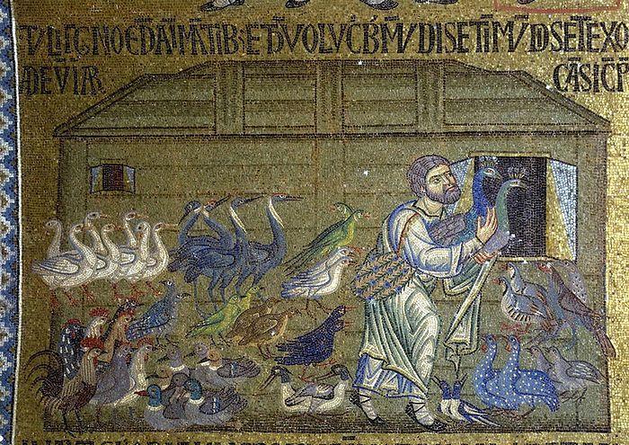 Ной впускает птиц по паре в ковчег