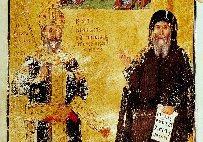 Иоанн Кантакузин как Император (слева) и монах Иоасаф (справа)
