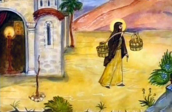 Иоанн Прозорливый идет за водой для сухой палки. Кадр: YouTube