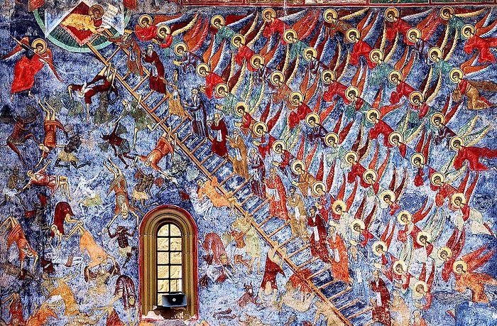 Лествица добродетелей. Фреска монастыря Сучевица