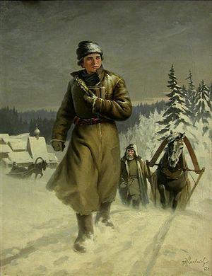 Михайло Ломоносов на пути в Москву. Художник: Н.И. Кисляков, 1948 г.