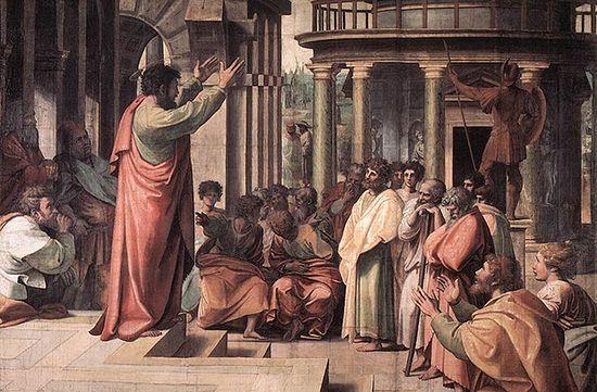Проповедь св. Павла. Художник — Рафаэль Санти (1483–1520 гг.)