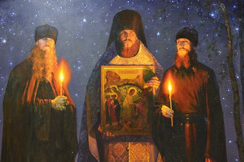 Оптинские новомученики иеромонах Василий, иноки Ферапонт и Трофим