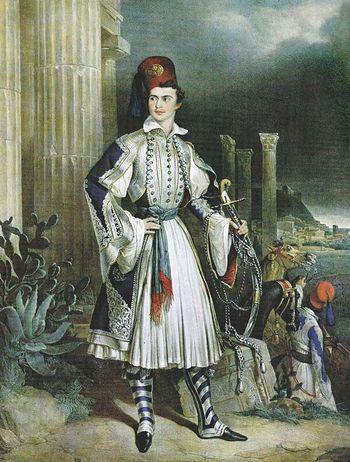 Король Греции Оттон I в национальном костюме. Литография Готлиба Бодмера