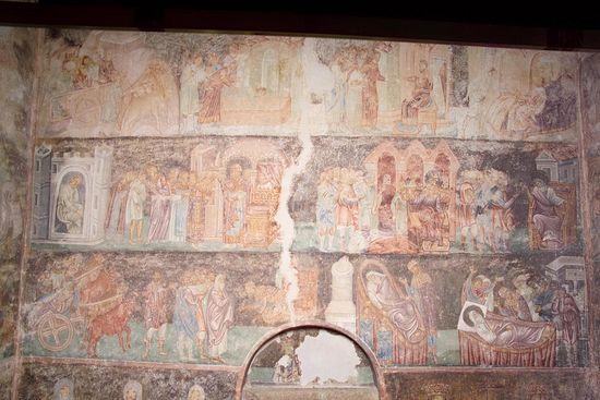 Large fresco from Sopocani depicting the life of the Righteous Joseph from the Book of Genesis