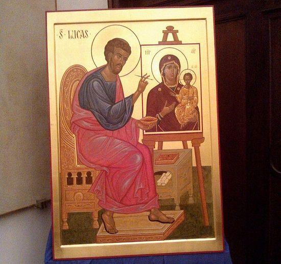 Икона святого евангелиста Луки работы иконописца Джузеппе Пегораро