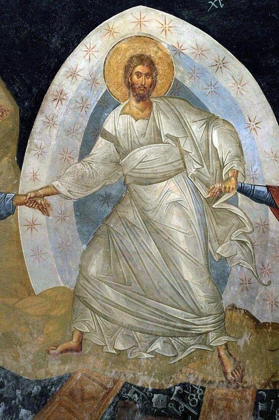 Fragment: Christ's harrowing of hell, fresco, Chora Monastery, Constantinople.