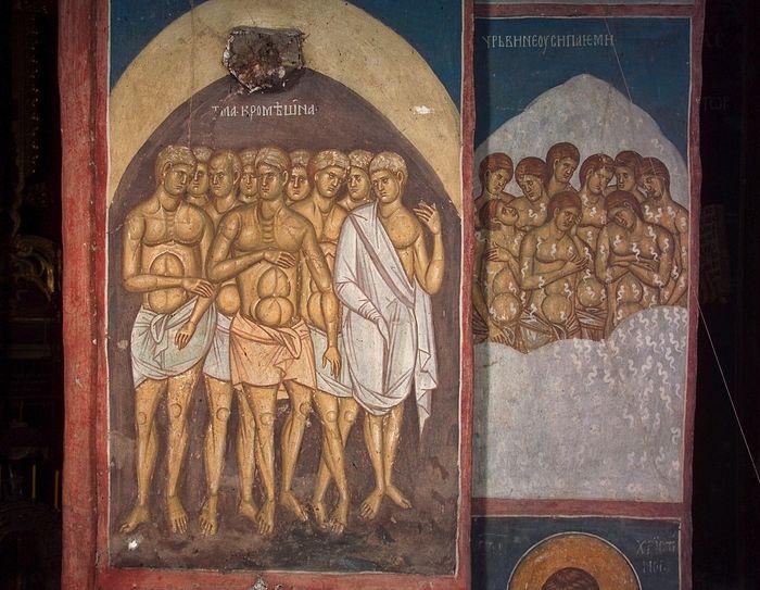 Страшный суд. Сцена мук: Тьма кромешная и Червь неусыпающий; Сербия. Дечаны; XIV в.