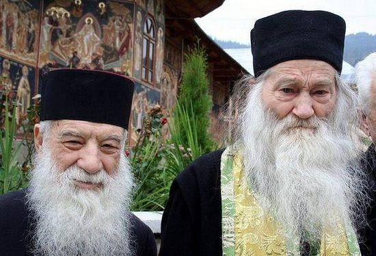 Fr. George Calciu (left) with Elder Justin Parvu (right)