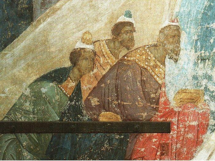 Поклонение волхвов. Фреска. Успенский собор Московского Кремля. Ок. 1485 г.