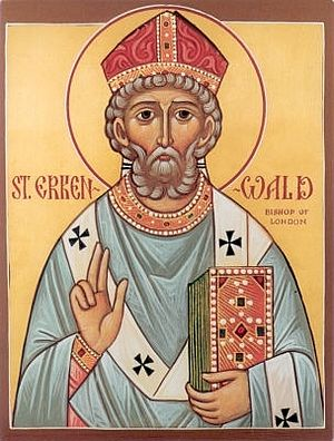 An icon of Holy Hierarch Erconwald of London
