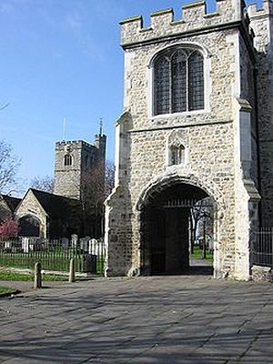 The tower with Holy Rood's Chapel and St. Margaret's Church in Barking