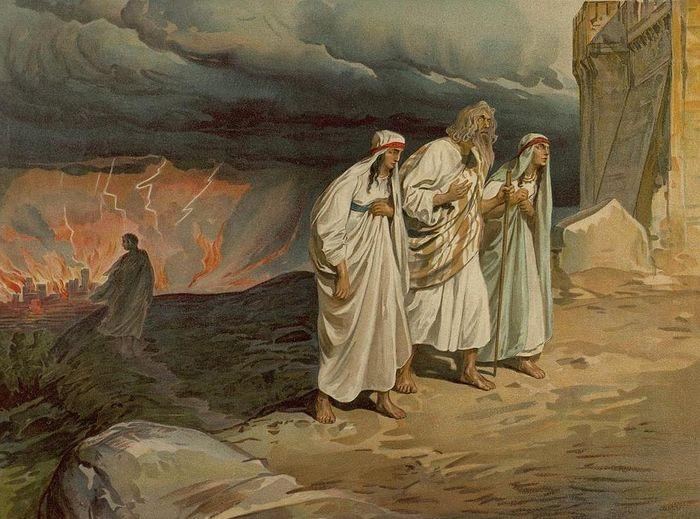 Лот с дочерьми уходят из Содома