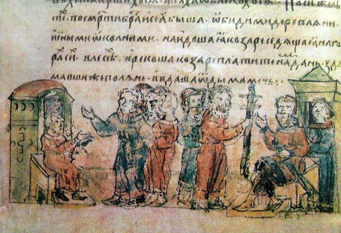 Поляне дают дань хазарам. Миниатюра Радзивилловской летописи, XV век