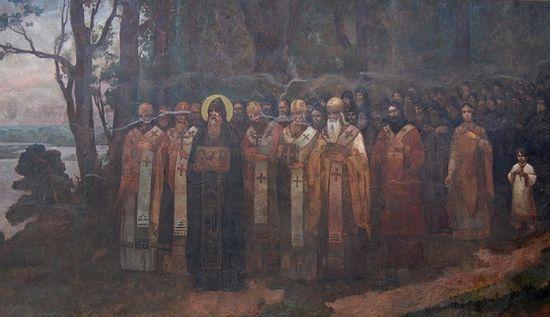 Прп. Антоний Печерский во главе подвижников Киево-Печерской Лавры, лаврская фреска