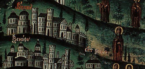 Фрагмент иконы всех препп. Афонских. Преп. Антоний изображен около Русской святогорской обители
