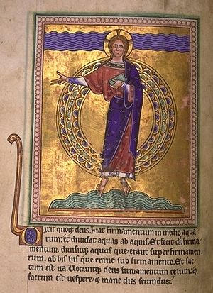 The creation of the firmament and division of the waters, from the Aberdeen Bestiary