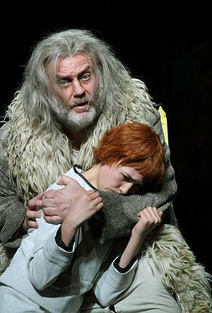Bryn Terfel as Boris Godunov in the opera by Mussorgsky, trying to protect his son Feodor. Photo: The Guardian.