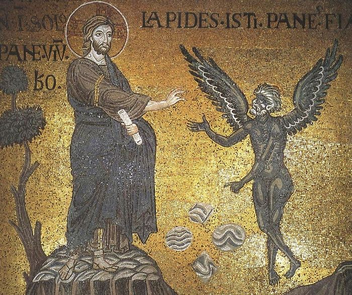 Искушение Христа в пустыне. Фреска. Собор Монреале, Сицилия