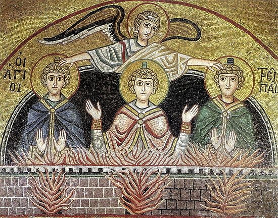 Angel, covering the Three Holy Youths with his wings. Mosaic in the monastery of St. Luke, 12th century