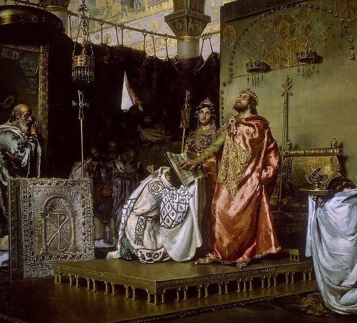 Обращение Реккареда I. Картина Муньоса Деграин. Дворец испанского сената, Мадрид