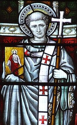 A stained glass image of St. Augustine of Canterbury (taken from 'Early British Kingdoms' website)
