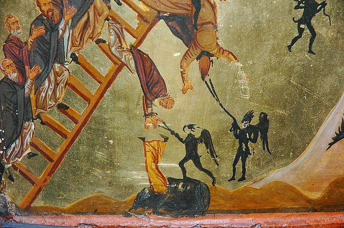 "Demons warring against monks. Fragment from the icon, ""The Ladder of the Virtues."""