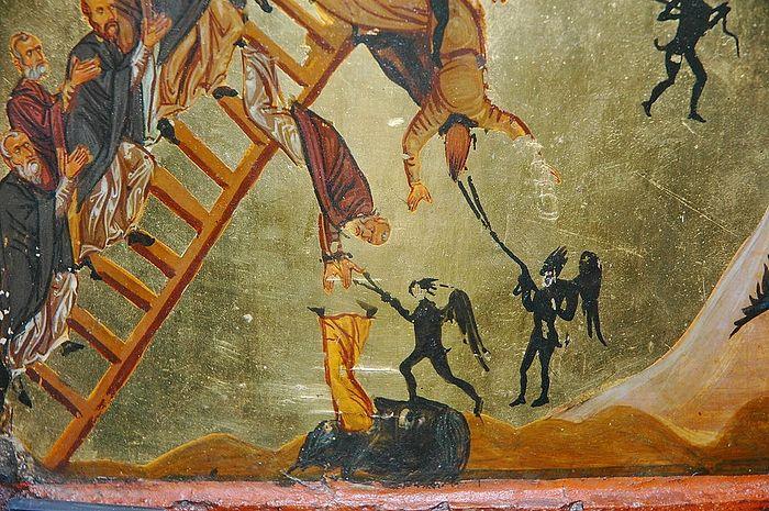Бесы, воюющие на монахов. Фрагмент иконы «Лествица добродетелей»