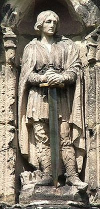 A statue of St. Wistan above the porch door of Repton church