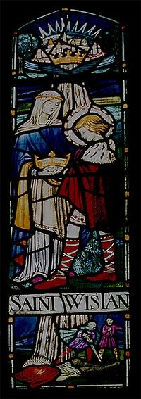 St. Wistan's stained glass window at Wistanstow church by the artist Margaret Edith Rope (photo by Zorga the Geek)