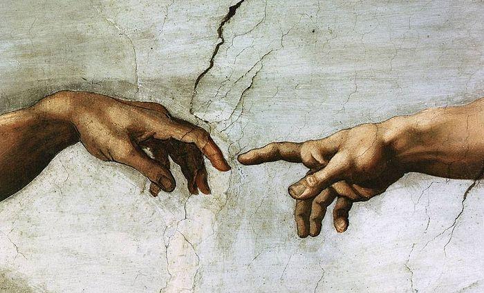 Микеланджело. Сотворение Адама. Фрагмент фрески