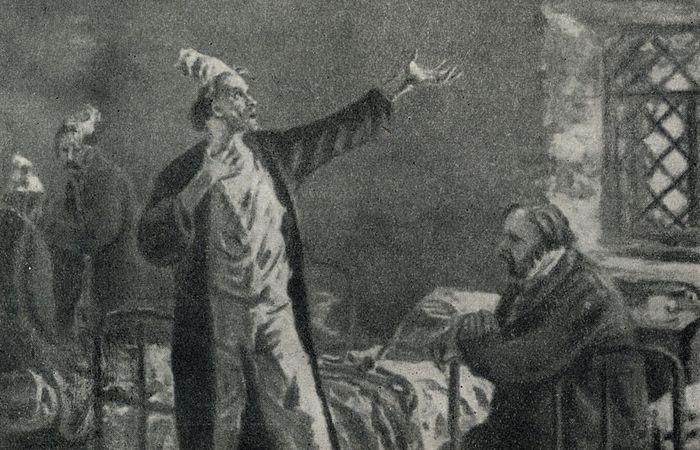 А.П. Чехов. «Палата № 6». Беседа доктора Рагина с Громовым. Рисунок А. В. Ванециана. 1954