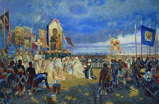 """A prayer service on Borodino Field""—by the artist Yegor Nikolayevich Zaitsev."