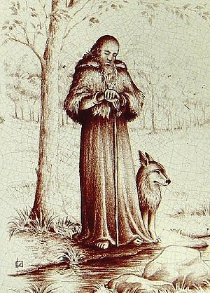 St. Herveus of Plouvien and his tame wolf