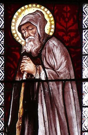 St. Herveus of Plouvien. A stained glass of St. Herveus Church in Lanhouarneau
