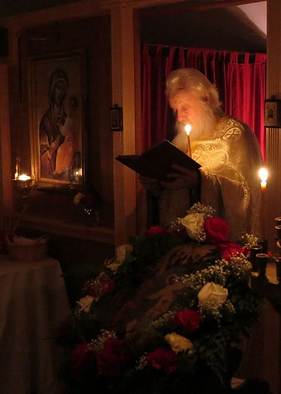 Fr. Alexey Young (now Hieroschemamonk Ambrose) serving Pascha at the skete of the Entrance of the Theotokos in Hayesville, OH (2013). Photo: Ralph Sidway