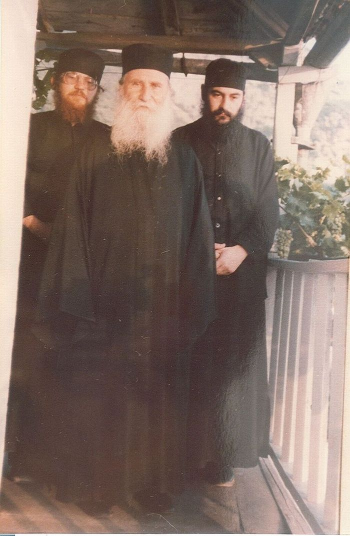 Elder Joseph of Vatopaidi, the now Metropolitan of Limassol Athanasios and the Abbot of Monastery Vatopaidi Elder Ephraim.