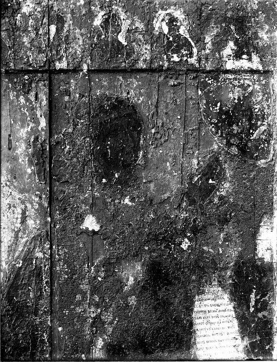 Боголюбская икона после снятия оклада в 1918 г. Фрагмент