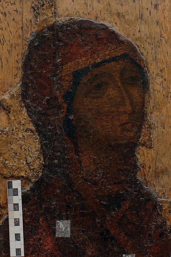 Боголюбская икона. Лик Божией Матери до реставрации. 2009 г.