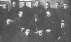 Hieromonk John (center) with Carpatho-Russian students at the Bitol Seminary, 1931.