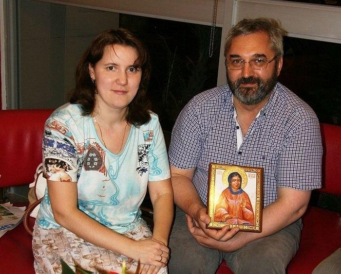 Елена Малер и отец Игорь Терентьев, встреча и беседа в Лиме, 2016 г.