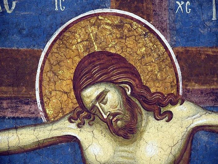 Holy and Great Friday. The death of Christ. Fresco at the monastery of Vysoki Decani, Serbia. 14th c.