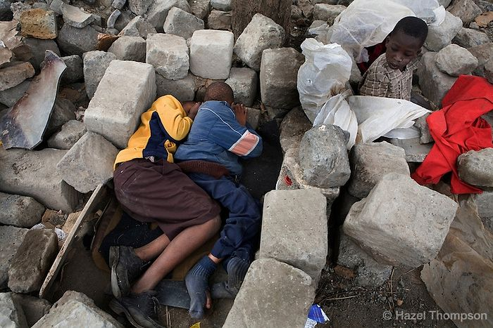The poor children of the Kibera slums sleep in such terrible conditions.