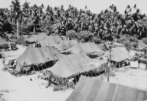 The tent city on the island of Tubabao.