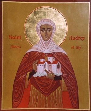 An Orthodox icon of St. Etheldreda of Ely