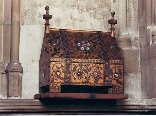 The reliquary containing a small portion of St. Etheldreda's relics, kept at St. Etheldreda's Church in Ely Place, London