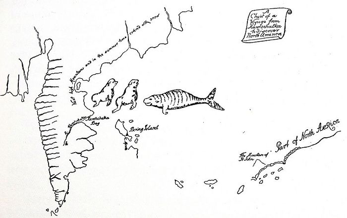 A 1741 chart traces Danish explorer Vitus Bering's voyage from Kamchatka to North America. Tsars dispatched explorers as part of the process of Russia's eastward expansion. (Universal History Archive/UIG/Bridgeman Images)