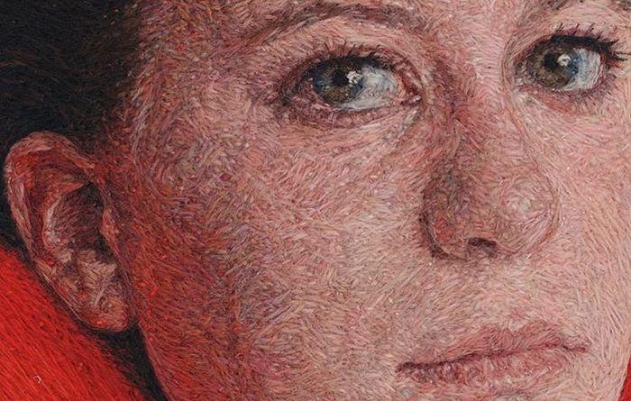 Завершенный вышитый портрет (художник: Cayce Zavaglia)