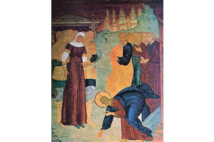 Христос и грешница, фрагмент фрески Софийского собора в Вологде